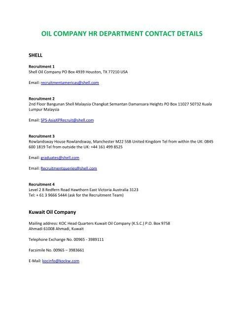 OIL COMPANY HR DEPARTMENT CONTACT DETAILS - stuham com