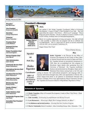 Deidre Tegarden - The Rotary Club of Kahului Website