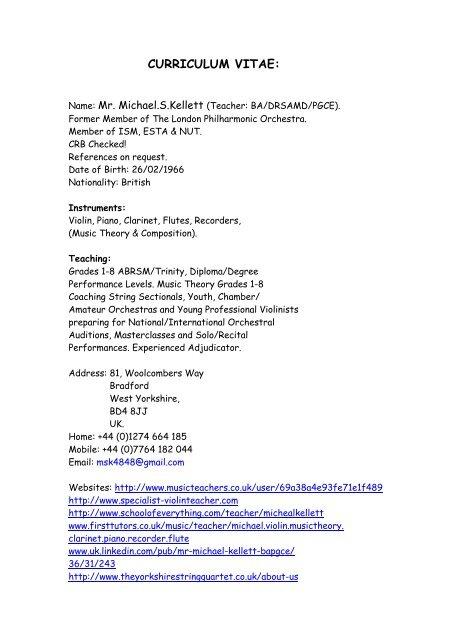 Curriculum Vitae Specialist Violin Teacher