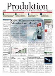 Knipst Subventionsabbau deutscher Solarindustrie das ... - Produktion