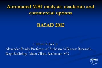 Automated MRI Analysis: Academic And Commercial Options ... - AIBL