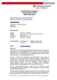Kinderbetreuungsatlas Hauptagentur Erfurt Stand: Mai 2012