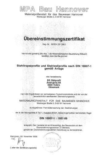 Prüfzertifikat Stahl-Trapezprofil STP 20