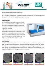 NEWSLETTER - MTG - Medical Technology Vertriebs-GmbH