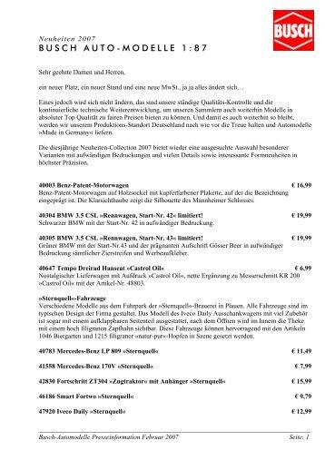 Automodelle Neuheiten 2007: Presseinfo anl ... - Busch