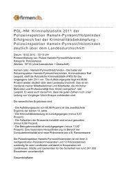 POL-HM: Kriminalstatistik 2011 der Polizeiinspektion Hameln ...