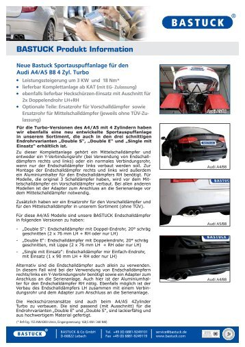 BASTUCK Produkt Information - BASTUCK & Co GmbH