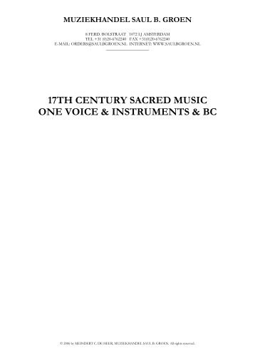 17th century sacred music one voice & instruments ... - Saul B. Groen