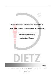 Interface for AUDI RNS-E Bedienungsanleitung Instruction ... - Dietz