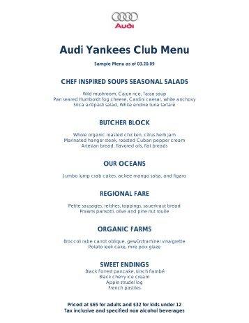 Audi Yankees Club Menu