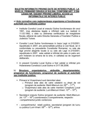 Buletin informativ privind date de interes public la - Primaria Sulina
