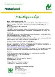 finden Sie wichtige Informationen zum Soja Anbau - Naturland