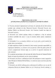 PROCEDURA DE LUCRU privind preluarea, desfăşurarea şi ...