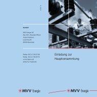 Einladung zur Hauptversammlung - MVV Investor