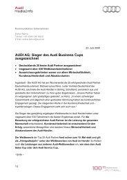 AUDI AG: Sieger des Audi Business Cups ausgezeichnet