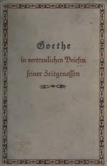 Goethe in vertraulichen Briefen seiner Zeitgenossen, auch eine ...