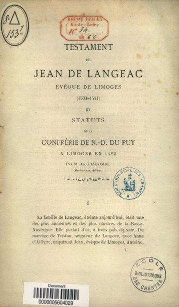 Testament de Jean de Langeac, eveque de limoges, 1533-1541 et ...