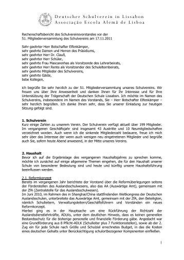 Vorstandsvorsitzenden - Deutsche Schule Lissabon