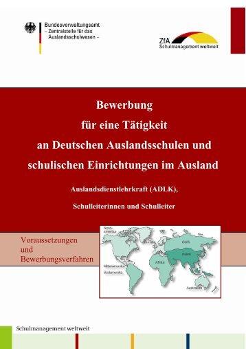 Bewerbung für eine Tätigkeit an Deutschen Auslandsschulen und