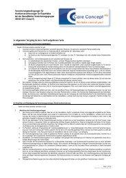 Allgemeine Versicherungsbedingungen Care ... - Care Concept AG