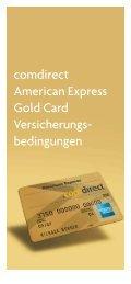 comdirect American Express Gold Card Versicherungs- bedingungen