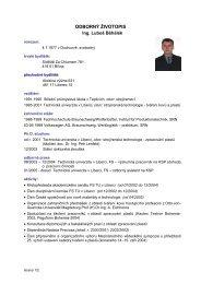 odborný životopis - Katedra strojírenské technologie - Technická ...