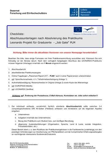 Checkliste Praktikumsnachweise JOB GATE 2010 - Dezernat 4 ...