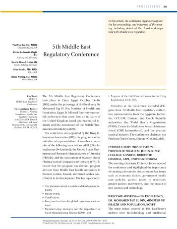 5th Middle East Regulatory Conference - Drug Information Association