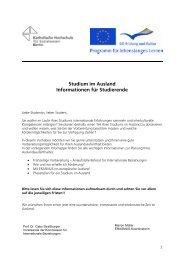 Studium im Ausland - KHSB