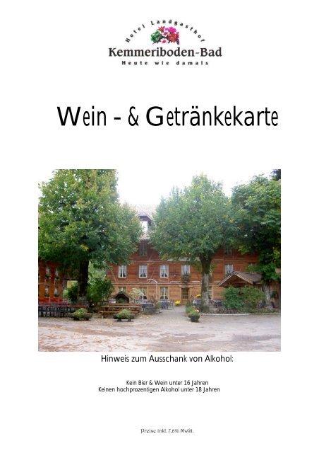 Wein - & Getränkekarte - Hotel Restaurant Landgasthof ...