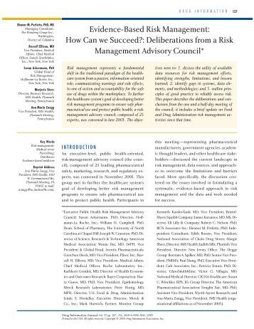 risk management and evidence Program for risk management and  evidence -based best  ensuring the collection and analysis of data to monitor the performance of processes that involve risk.