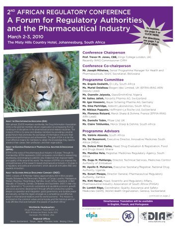 A Forum for Regulatory Authorities and the Pharmaceutical - Drug ...