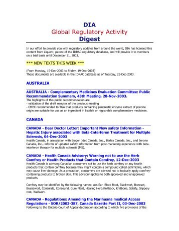 DIA Global Regulatory Activity Digest - Drug Information Association