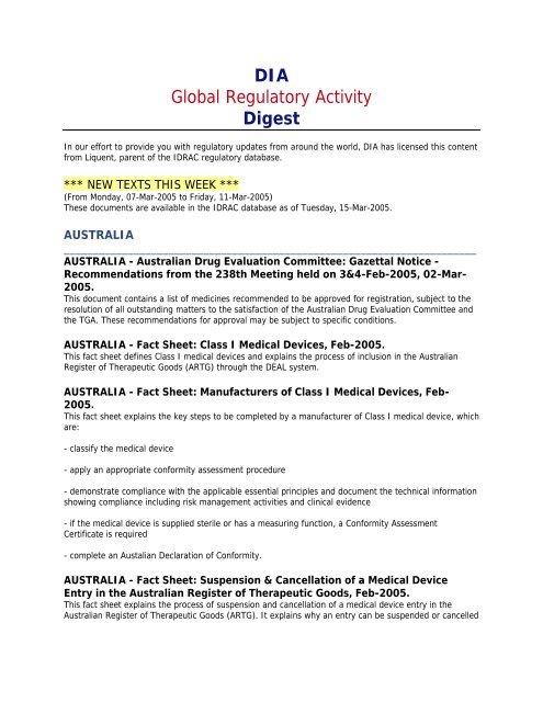 DIA Global Regulatory Activity Digest - Drug Information