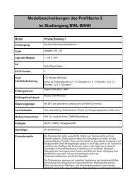 Modulbeschreibungen des Profilfachs 2 im Studiengang BWL-BANK