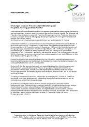 Erhebungen beweisen: Prävention kann Milliarden sparen ... - DGSP