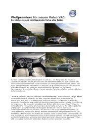 Weltpremiere für neuen Volvo V40: - DGSP