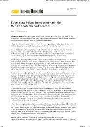 Artikel-Sport statt Pillen - DGSP