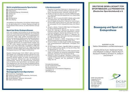 Bewegung und Sport mit Endoprothese - DGSP