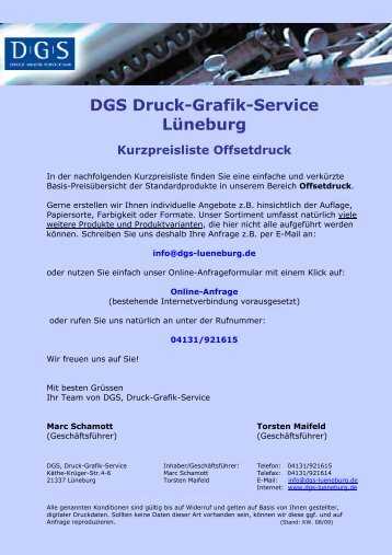 1-seitig bedruckt - DGS - Druck Grafik Service