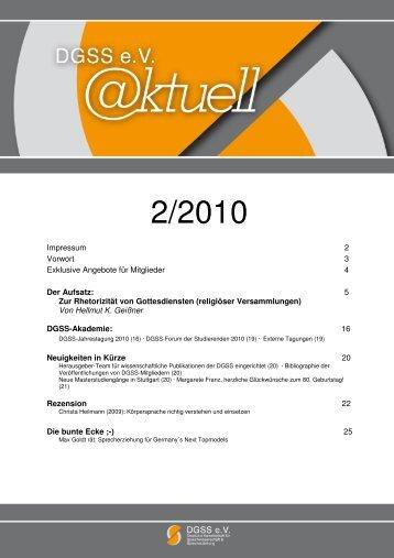 2/2010 - Deutsche Gesellschaft für Sprechwissenschaft und ...