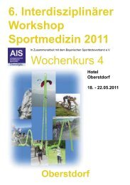 Oberstdorf 6. Interdisziplinärer Workshop Sportmedizin 2011 - DGSP