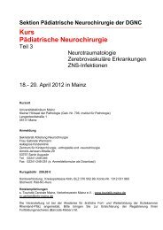 Kurs Pädiatrische Neurochirurgie