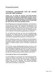 norm ISO 14001 zertifiziert - mechatronic systemtechnik GmbH