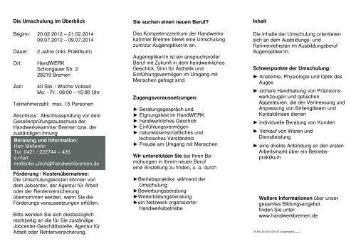 Augenoptikerin Umschulung Handwerkskammer Bremen