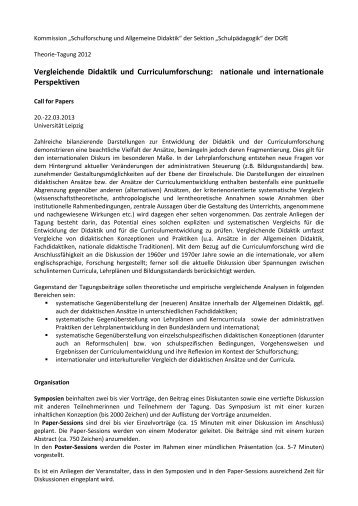 Vergleichende Didaktik und Curriculumforschung: nationale und ...