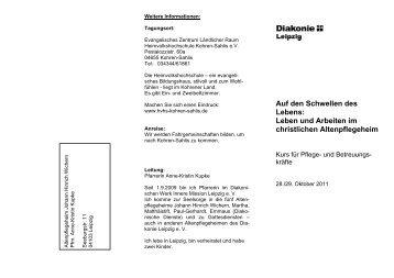 Leben und Arbeiten im christlichen Altenpflegeheim - Diakonie Leipzig