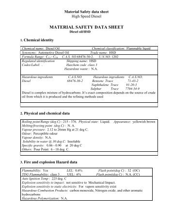 material safety data sheet - Hindustan Petroleum Corporation Limited