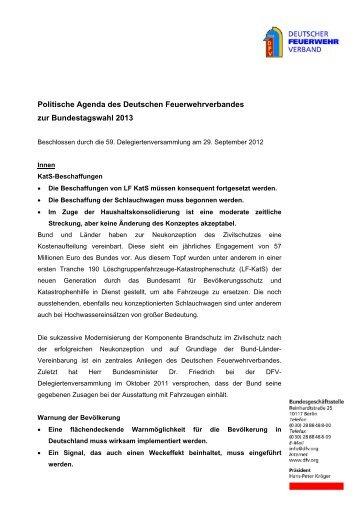 Politische Agenda 2013 DFV - Deutscher Feuerwehrverband