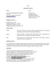 VITA MICHAEL J. RYAN Office - Stephen M. Ross School of ...